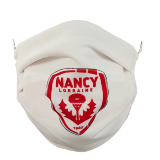 masque en tissue blanc logo rouge taille junior